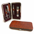 5-PIECE MANICURE SET IN BROWN CROCO LEATHER CASE
