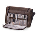HANGING DOPP KIT WITH MANICURE & GROOMING SET - BROWN LEATHER AND ULTRA SUEDE CASE