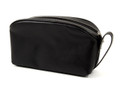 """BATTERSEA"" BLACK LEATHER TRAVEL TOILETRY BAG - DOPP KIT"