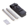 STAINLESS STEEL CIGAR GIFT SET : BLACK LEATHER CASE, TUBE, FLASK & CUTTER