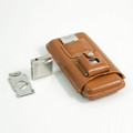 TAN LEATHER 3-PIECE CIGAR SET : CIGAR CASE, CIGAR CUTTER & LIGHTER