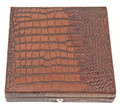 """CARTAGENA"" BROWN CROCO LEATHER 12 CIGAR CEDAR LINED HUMIDOR WITH HUMISTAT"