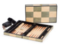 BACKGAMMON SET IN AN INLAID WOODEN BOX