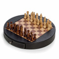 CHESS SET IN BLACK LEATHER CASE