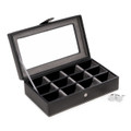 BLACK LEATHER CUFF LINK CASE - HOLDS 12 PAIR OF CUFF LINKS