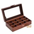 BROWN LEATHER CUFF LINK CASE - HOLDS 12 PAIR