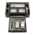 BLACK LEATHER DRESSER ORGANIZER WITH STORAGE DRAWER - JEWELRY & WATCH BOX - VALET BOX