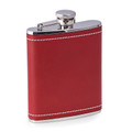 """CHARING CROSS"" RED LEATHER WRAPPED STAINLESS STEEL FLASK - 6 OZ"