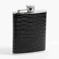 """BARONS COURT"" BLACK ""CROCO"" LEATHER WRAPPED STAINLESS STEEL FLASK - 6 OZ"