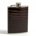 """BARONS COURT"" BROWN ""CROCO LEATHER WRAPPED STAINLESS STEEL FLASK - 6 OZ"