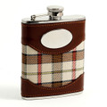 EDINBURGH STAINLESS STEEL & BEIGE TARTAN PLAID FLASK