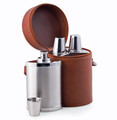 6-PIECE STAINLESS STEEL BAR SET IN BROWN LEATHER CARRYING CASE - TRAVEL BAR -  3 FLASKS & 3 SHOOTER CUPS