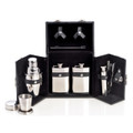 10-PC STAINLESS STEEL TRAVEL BAR SET IN BLACK LEATHER CASE