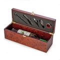 WINE GIFT BOX - WOODEN WINE BOTTLE HOLDER WITH 5-PC BAR TOOL SET - WINE CARRIER