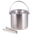 """KINGS CROSS"" STAINLESS STEEL DOUBLE WALL ICE BUCKET WITH ICE TONGS - BARWARE"