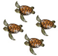 WALL ART - SET OF FOUR SEA TURTLE WALL SCULPTURES - COASTAL & NAUTICAL WALL DECOR