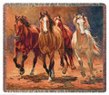 "WILD STALLIONS TAPESTRY THROW BLANKET - 50"" X 60"""
