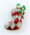 CHRISTMAS JEWELRY SALE - BEJEWELED STOCKING CHRISTMAS PIN