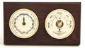 """CAPE COD"" TIDE CLOCK AND COMBINATION BAROMETER & THERMOMETER ON MAHOGANY BASE - WEATHER STATION"