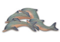 SCHOOL OF DOLPHINS WOODEN WALL SCULPTURE - COASTAL & NAUTICAL DECOR