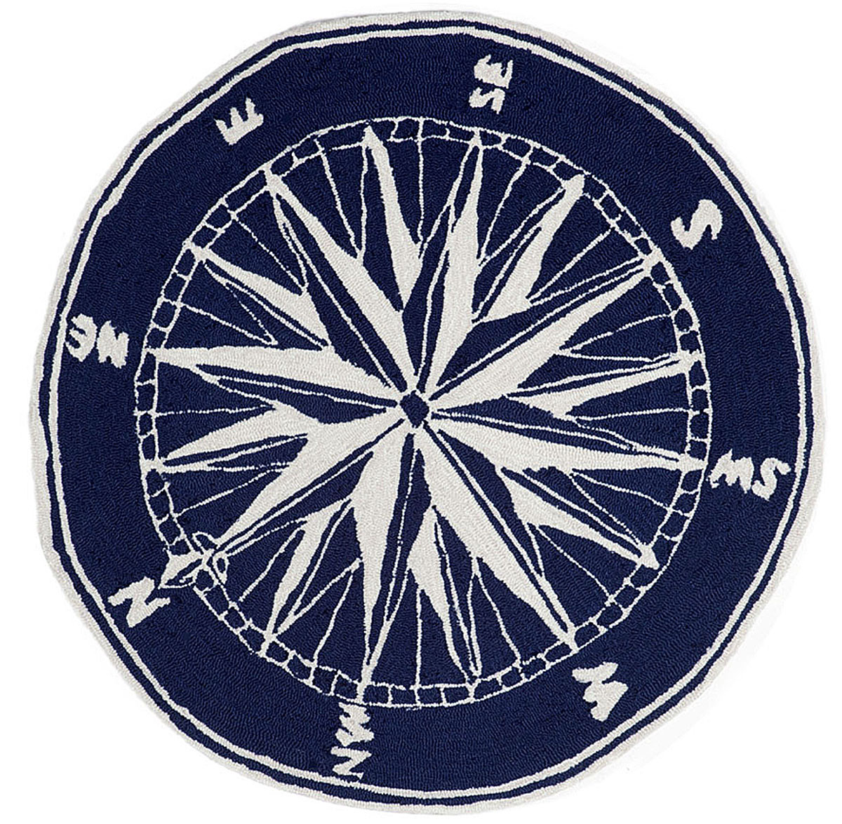 Mariners Compass Indoor Outdoor Rug 3 Round Rug Blue Nautical Decor