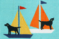 """BLACK LAB BAY"" INDOOR OUTDOOR RUG - 20"" x 30"" - LABRADOR RETRIEVER ON SAILBOATS RUG"