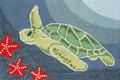 """TURTLE BAY"" SEA TURTLE & STARFISH INDOOR OUTDOOR RUG - 30"" x 48"""