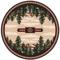 CASCADE LAKE AREA RUG - 8' ROUND RUG - LAKE HOUSE DECOR