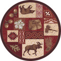 """COLDWATER RIDGE"" WILDERNESS LODGE RUG - 8' ROUND RUG - RUSTIC DECOR - LODGE DECOR"