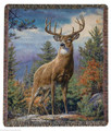 "MAJESTIC DEER TAPESTRY THROW BLANKET - 50"" X 60"" - LODGE DECOR"