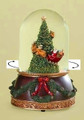 """UP, UP AND AWAY"" MUSICAL SNOW GLOBE WITH ROTATING SANTA SLEIGH AND REINDEER"