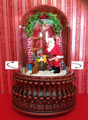 CHRISTMAS DELIVERY REVOLVING MUSICAL SNOW GLOBE - TWO SCENE SNOW GLOBE - SANTA WITH TOYS AND GIRL WITH CANDLES  - FREE SHIPPING*