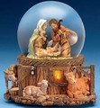 "FONTANINI NATIVITY - ""AWAY IN THE MANGER"" LIGHTED MUSICAL NATIVITY SNOW GLOBE"