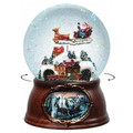 SANTA TAKES FLIGHT MUSICAL & ANIMATED SNOW GLOBE - REVOLVING TRAIN
