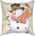 "SNOWMAN & WOODLAND FRIENDS PILLOW - 18"" SQ - INDOOR OUTDOOR PILLOW"