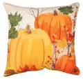 "DECORATIVE PILLOWS - AUTUMN PUMPKINS INDOOR OUTDOOR PILLOW - 18"" SQUARE - PUMPKIN PILLOW"