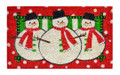 "SNOWMAN TRIO STENCILED COIR DOORMAT - 18"" X 30"" - WELCOME MAT - DOOR MAT"