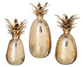 "BRASS PINEAPPLE CANDLE HOLDER TRIO  - SET OF THREE: 5"" H - 6.5"" H AND 8.5"" H"
