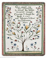 "SERENITY PRAYER TAPESTRY THROW - 50"" X 60"" THROW BLANKET - TREE OF LIFE"