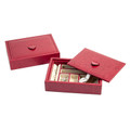 """WINDSOR GARDENS"" EMBOSSED RED LEATHER JEWELRY BOX"