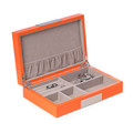"""MAYFAIR"" ORANGE LACQUERED WOOD JEWELRY BOX WITH STAINLESS STEEL ACCENTS & MULTI COMPARTMENT STORAGE"
