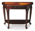 CHARLESTON INLAID DEMILUNE CONSOLE TABLE - PLANTATION CHERRY FINISH - FREE SHIPPING*