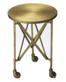 """CANARY WHARF"" INDUSTRIAL LOOK ROUND ACCENT TABLE - BRUSHED BRASS FINISH - FREE SHIPPING*"