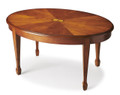 RAVENSCROFT OVAL INLAID COFFEE TABLE - OLIVE ASH BURL FINISH - FREE SHIPPING*