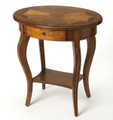 MARLBOROUGH INLAID OVAL SIDE TABLE - OLIVE ASH BURL FINISH - FREE SHIPPING*
