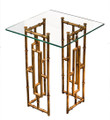 """BAMBOO GROVE"" GLASS TOP ACCENT TABLE - ANTIQUE GOLD FINISH"