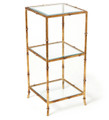 """SHANGHAI GARDEN"" STYLIZED BAMBOO 3-TIER SQUARE GLASS TOP TABLE -  ANTIQUE GOLD FINISH"