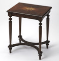 """CROWN COURT"" STARBURST INLAID CHAIR SIDE TABLE - END TABLE - PLANTATION CHERRY FINISH - FREE SHIPPING*"
