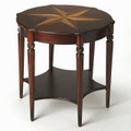 HAVERFORD ROUND TABLE WITH MARQUETRY INLAY - PLANTATION CHERRY FINISH - FREE SHIPPING*