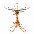 """LENOX SQUARE"" WHEAT SHEAF ROUND GLASS TOP TABLE - ANTIQUE GOLD FINISH"